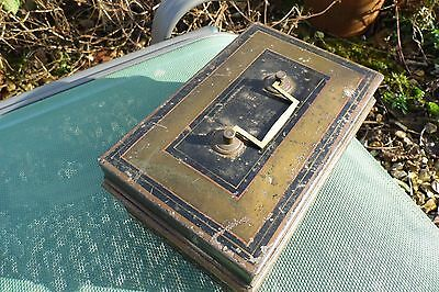 Victorian Cash Tin Money Box Toleware 19th century antique decorated