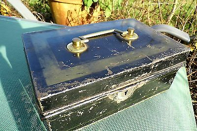 Victorian Cash Tin Money Box Toleware 19th century antique
