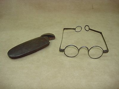 Antique 1750's Era Edward Scarlett Double Folding Spectacles W/case!