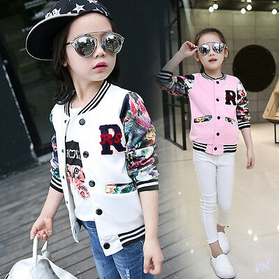 Floral Girl Kids Casual Baseball Jacket Long Sleeve Coat Clothes Outwear