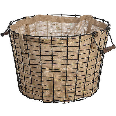 Large Circular Metal Brown Storage Basket with Handles and Natural Linen Lining