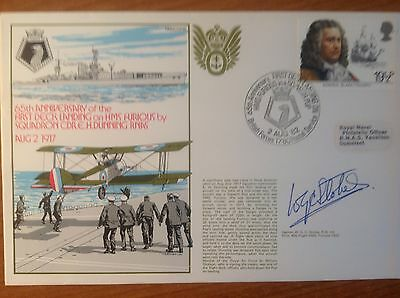 RNSC Signed FDC - 1st Deck Landing on HMS FURIOUS 1917 by Sqdn Cdr. Dunning RNAS