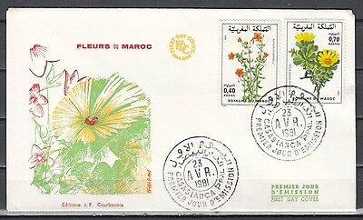 // Morocco, Scott cat. 484-485. Local Flowers issue. First day cover