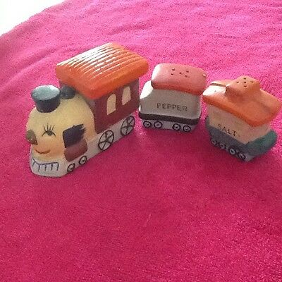 Vintage Happy Train Salt and Pepper set with Mustard