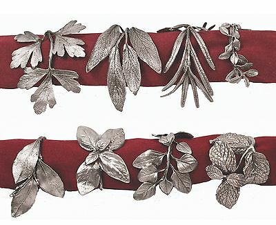 Herb Assortment Napkin Rings by Michael Michaud, 8, Antique Pewter
