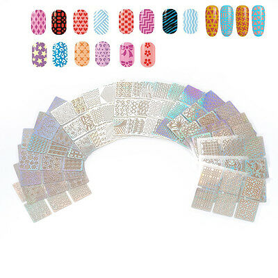 Nail Art Guide Sticker 3D Vinyl Colorful Stencil Hollow Manicure Pack of 24