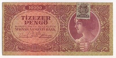 1945 Hungary 10000 Pengo Inflation Banknote Wwii Era With Stamp