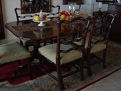 Georgian Style Mahogany Double Pedestal Base Dining Table & 6 Ribbon-Back Chairs