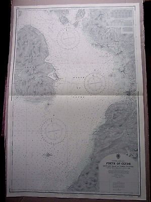 "1969 FIRTH OF CLYDE West Scotland ARRAN Admiralty Map Sea Chart 28"" x 41"" A64"
