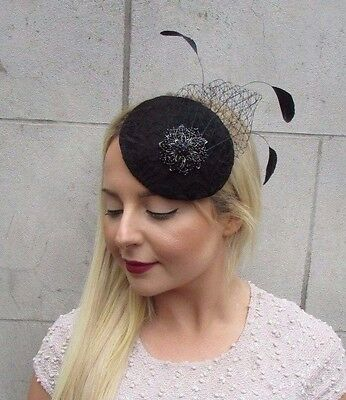 Black Lace Feather Pillbox Fascinator Hat Hair Clip Vintage Cocktail Net 2689
