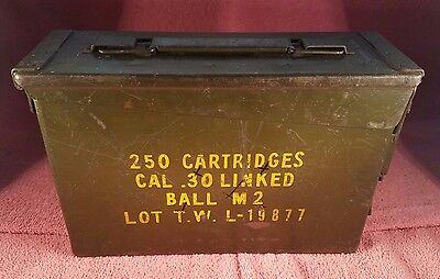 Vintage Ammunition (Ammo) Metal Box 250 Cartridges, Cal .30 Cal Linked, Ball M2