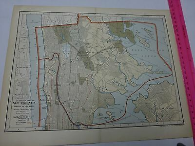 1903 Map of Northern Part of New York City, with the Borough of Bronx & Queens