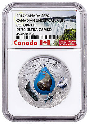 2017 Canada Underwater Life W/3D Water Droplet 1 oz. Silver NGC PF70 UC SKU45965
