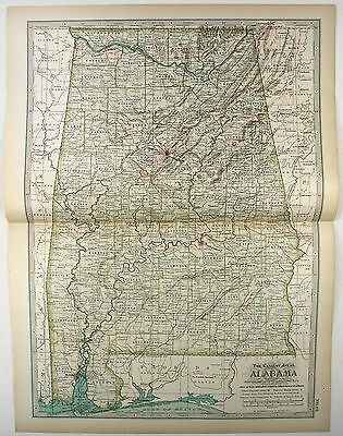 Original 1897 Map of Alabama by The Century Company