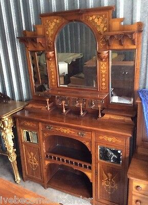 Antique Victorian Rosewood Inlay Mirror Back Sideboard Cabinet