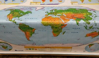 """Nystrom 2 in 1 World and United States Pull Down Double Map. 67x60"""" long"""
