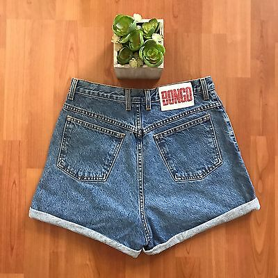 Vtg Bongo Denim Shorts High Waist Size 13 Cuffed Festival 90s