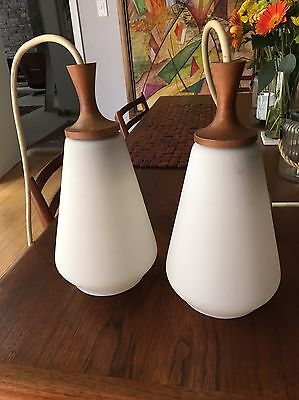 2 Mid Century Mod Danish Teak & Frosted Glass Hanging Lamps Eames Knoll Wegner