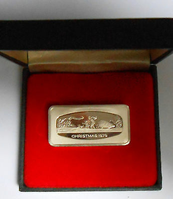 1979 Franklin Mint Christmas sterling silver Bar 1000 Grains w/ Box and COA