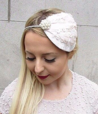 Cream Ivory Feather Velvet Fascinator Teardrop Races Vintage Hair Headband 2696