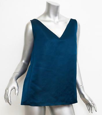 Lanvin Womens Jewel Tone Blue Teal Sleeveless Silk Blouse Top 40 Nwt 2050