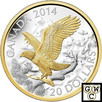 2014 Perched Bald Eagle Gold-Plated Proof $20 Silver 1oz.9999Fine(13915)(NT)OOAK