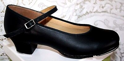 Bloch Techno Tap Jazz Dance Black Leather Shoes Mary Jane Style Womens Size 8
