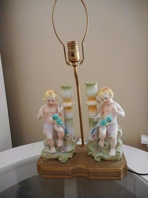 Antique German Bisque Double  Putti & Parrot Candle Sticks / Lamp