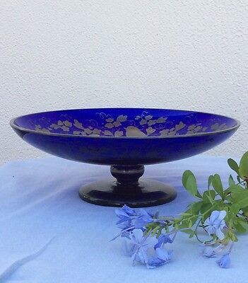 Antique Cobalt Blue Glass Bowl W/ Sterling Overlay Czech Republic Tazza