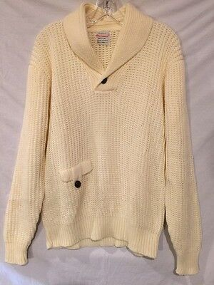 Vintage 60's Richman Brothers Men's L  Cable Knit Shawl Collar Sweater Unworn !!