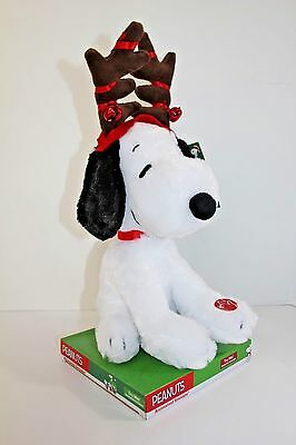 PEANUTS Animated Snoopy Christmas Reindeer Plush Music Motion Dancing NEW NIB