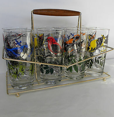 Mid-Century Set of 8 Glass Bird Cocktail Tumblers & Retro Wood/Brass Drink Caddy