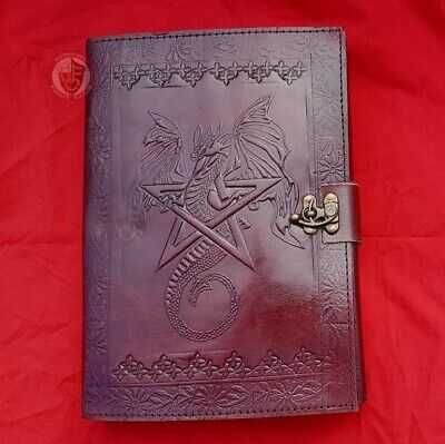 Cotton Paper Leather Journal Dragon Hex Petagram Pentacle Wicca Pagan