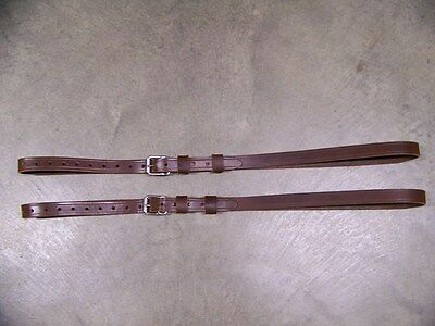 LEATHER LUGGAGE STRAPS for LUGGAGE RACK/CARRIER~~(2) SET~~DARK BROWN~~STAINLESS