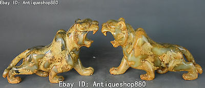 """8"""" China Old Jade Hand Carving Feng Shui Uphill Tiger Tigers Animal Statue Pair"""