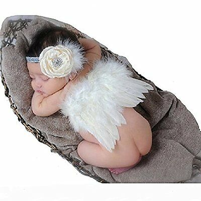 CiaraQ Newborn Baby Photography Props Feather Angel Wings and Rhinestone Set