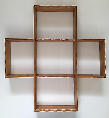Vintage Wood Curio Wall Shelf Cube Square Scallop Edge Display Case Japan
