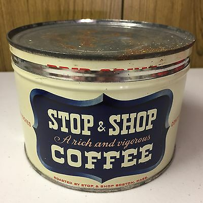 Vintage Stop & Shop Coffee Tin 1 Lb Key Wind ORIGINAL Country Store Advertising!