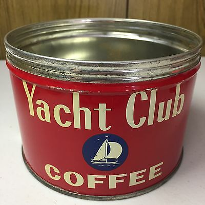 Vintage Yacht Club Coffee Tin 1 Lb Key Wind ORIGINAL Country Store Advertising!!