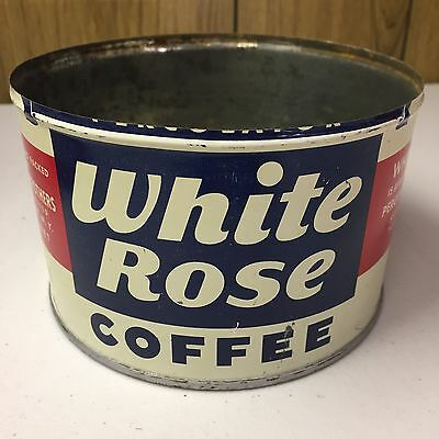 Vintage White Rose Coffee Tin 1 Lb Key Wind ORIGINAL Country Store Advertising!!
