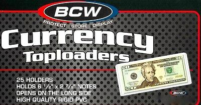 200 Regular Dollar Bill Currency Top Load Rigid Plastic Holders Money Toploaders