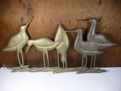 Vtg Mid Century Shorebirds Shore Birds Brass Wall Hanging Art Sculpture Beach