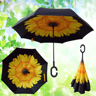 Handfree C-Handle Umbrella Upside Down Reverse Double Layer Inside Out