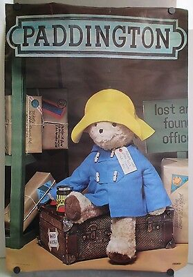 Original 1979 Eden Toys Paddington Bear Fishermans Hat Store Display Poster 39""