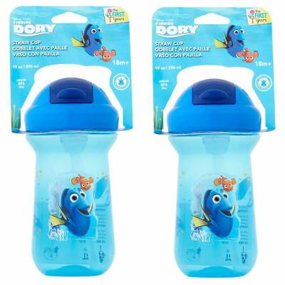 2PK Disney Finding Nemo Flip Top Straw Cup Toddler/Child Bottle BPA Free 296ml