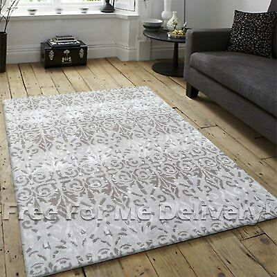 KIMI GREY BEIGE DAMASK THICK WOOL MODERN FLOOR RUG (S) 110x160cm **FREE DELIVERY