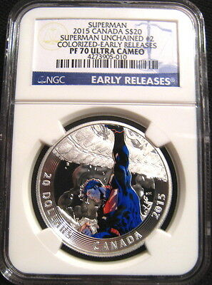 2015 Canada $20 SUPERMAN UNCHAINED #2 NGC PF70 UC Early Releases PR70~~