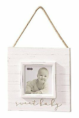 "Mud Pie Sweet Baby Hanger Frame Distressed Nursery Décor, 4"" x 4"""