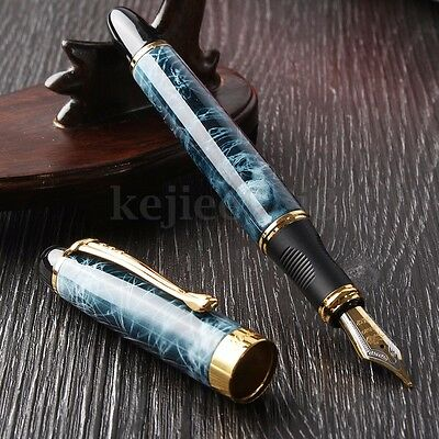 JINHAO X450 BLUE MARBLE BUSINESS Medium Nib Fountain Writing Paint Pen Gold Trim