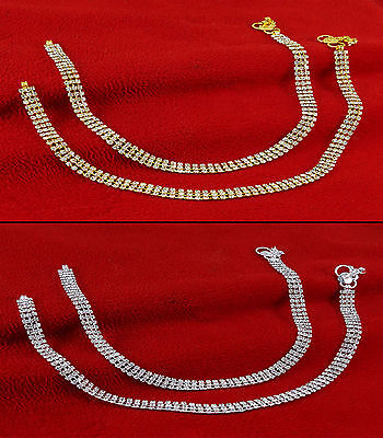 Bollywood Indian Bridal Wear Anklet Barefoot CZ Stone Payal Jewelry SA1220A-PAR